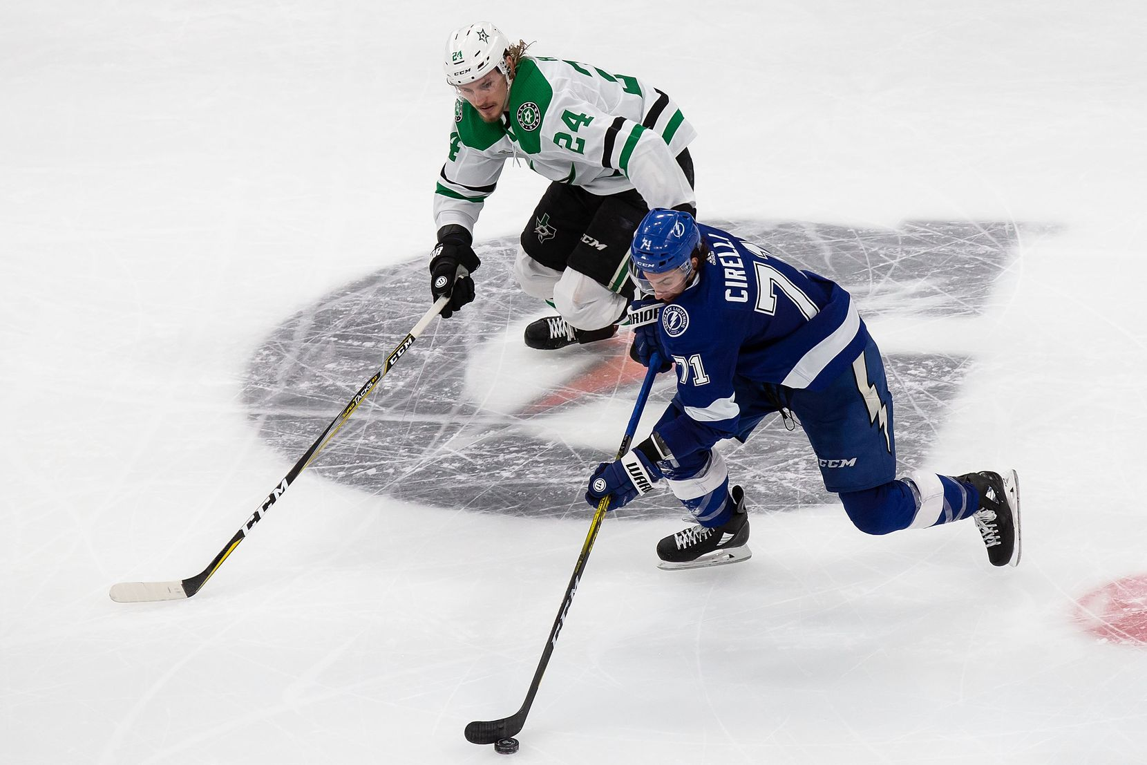 Roope Hintz (24) of the Dallas Stars pursues Anthony Cirelli (71) of the Tampa Bay Lightning during Game Two of the Stanley Cup Final at Rogers Place in Edmonton, Alberta, Canada on Monday, September 21, 2020. (Codie McLachlan/Special Contributor)