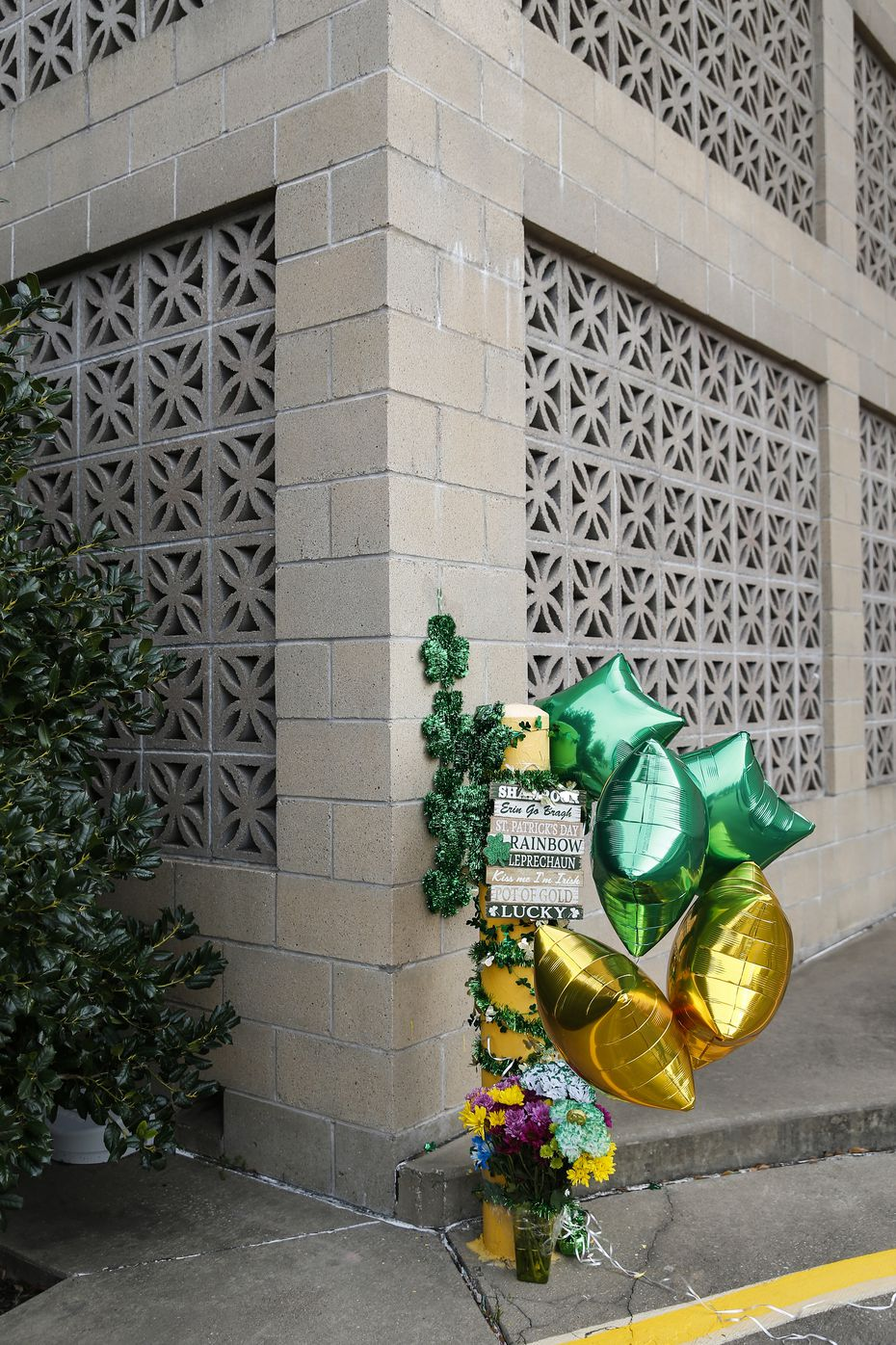 A memorial, decorated by Destiny Rangel, who was best friends with Emily Bingabing, who was killed outside a Walmart in Far North Dallas in late January, decorates a memorial near the location of the homicide on Saturday, Feb. 22, 2020 in Dallas. Rangel says they plan to continue decorating the location once a month. (Ryan Michalesko/The Dallas Morning News)