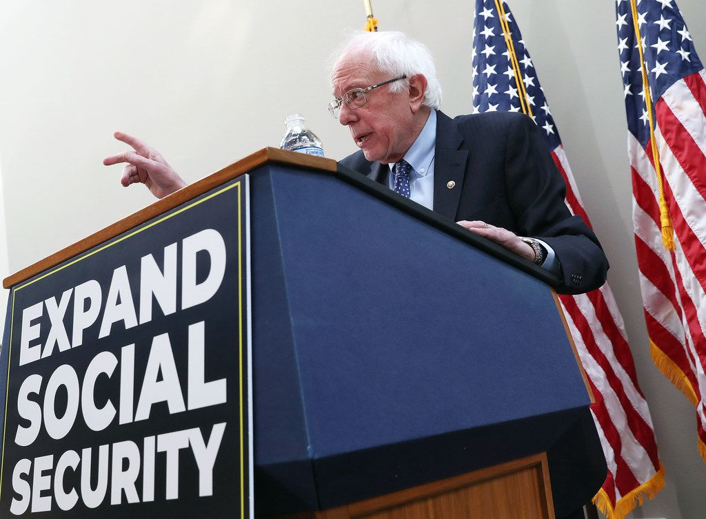 Sen. Bernie Sanders of Vermont speaks during a news conference to announce legislation to expand Social Security, on Capitol Hill Feb. 13, 2019 in Washington, D.C.