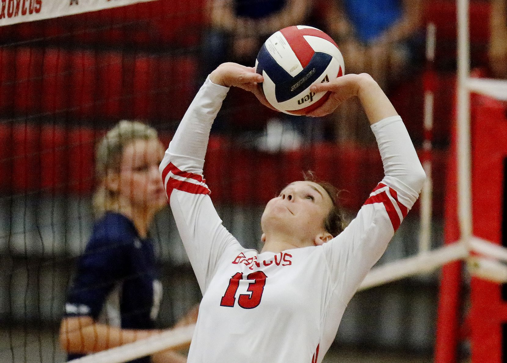 McKinney Boyd High School setter Camryn Weldon (13) makes a set on the run during game two as McKinney Boyd High School hosted Flower Mound High School at McKinney Boyd High School on Tuesday evening, September 7, 2021. (Stewart F. House/Special Contributor)