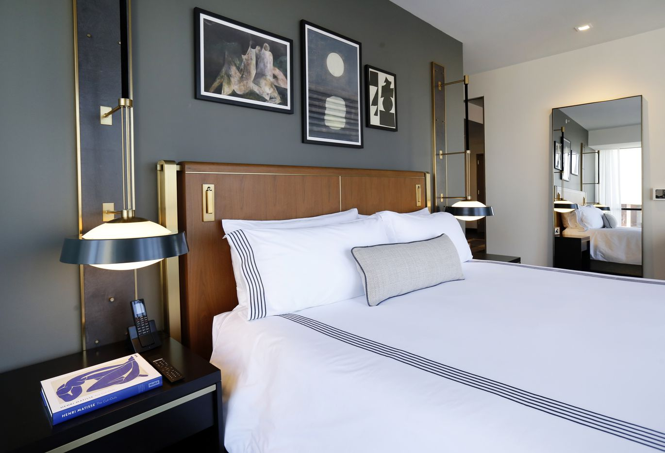 A king bedroom in the 219-room Thompson Dallas luxury hotel at The National.