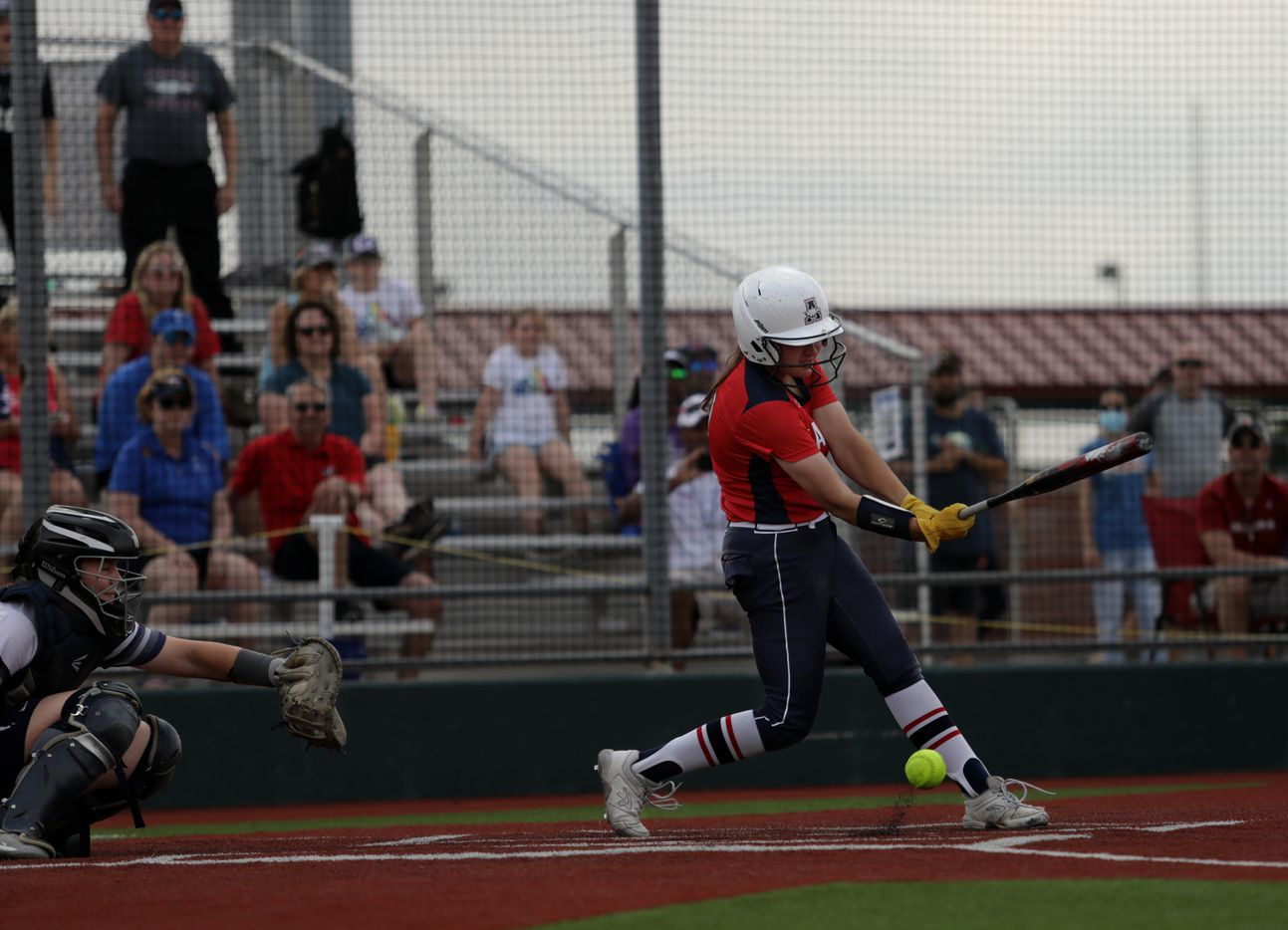 Allen High School player #10, Alexis Telford, hits a foul during a softball playoff game against Flower Mound High School at Allen High School in Allen, TX, on May 15, 2021. (Jason Janik/Special Contributor)