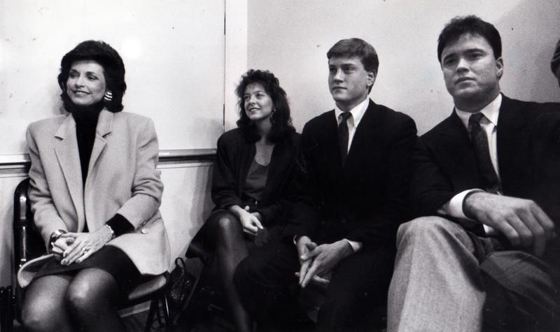 February 1989 - Jerry Jones' family listens during the first news conference held by the Dallas Cowboys' new owner. From left to right are Jones' wife Gene; daughter Charlotte; and sons Jerry Jr. and Stephen.