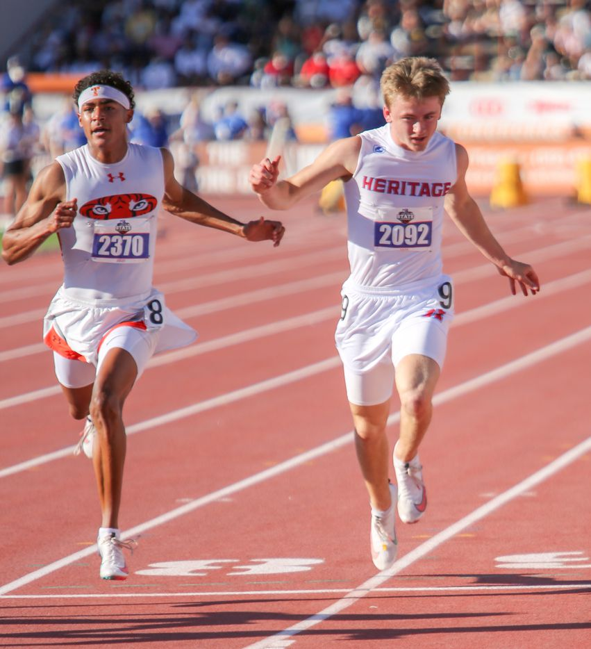 Midlothian Heritage's Carter Wilkerson runs towards the finish line during his 4A boys 100 meters run during the UIL state track meet at the Mike A. Myers Stadium, at the University of Texas on May 6, 2021 in Austin, Texas. He placed sixth in the event.