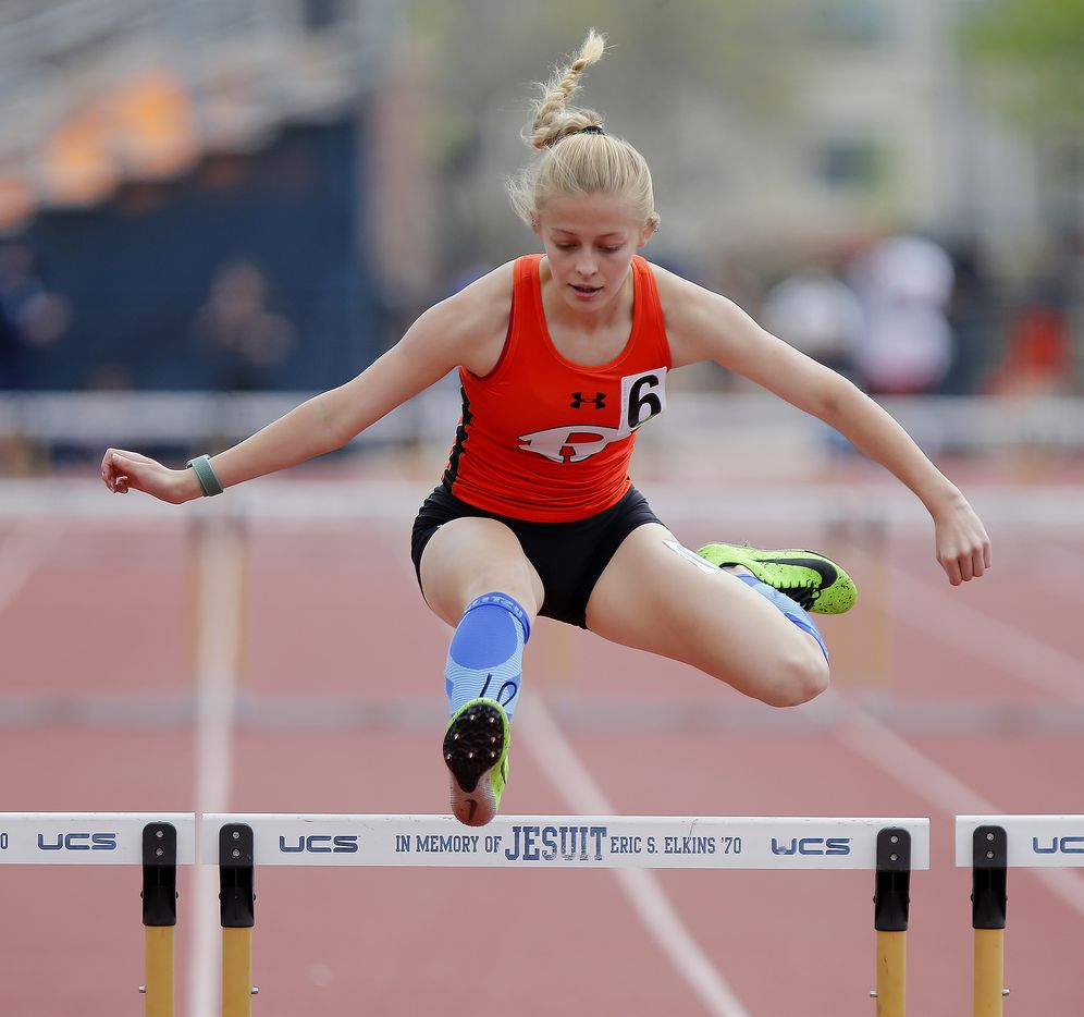 Kaela Perez, 14, of Rockwall High School, finished first in the first heat of the gilrs 300 meter hurdeles during the Jesuit-Sheaner Relays held at Jesuit College Preparatory School in Dallas on Saturday, March 27, 2021.  (Stewart F. House/Special Contributor)