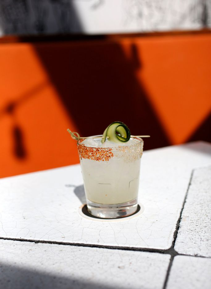 La Malinche, with Casamigos Blanco, serrano peppers, muddled cucumber, white pepper syrup and lime juice photographed at Jose in Dallas on Wednesday, April 18, 2018. (Rose Baca/The Dallas Morning News)