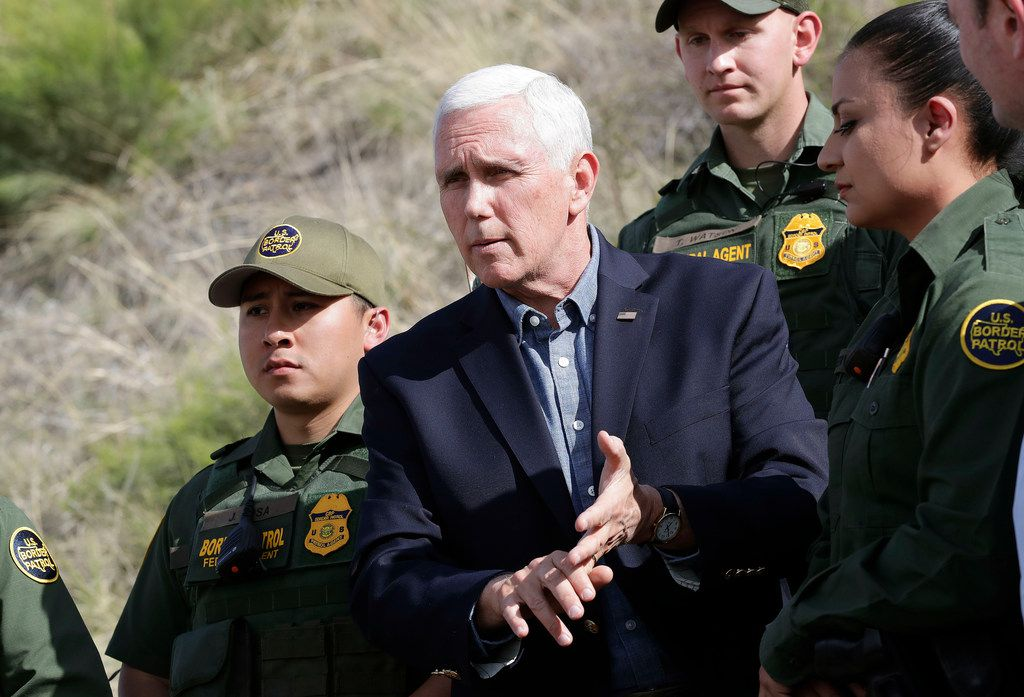 Vice President Mike Pence speaks along the International border while meeting with Customs and Border Patrol agents, Thursday, April 11, 2019, in Nogales, Ariz.