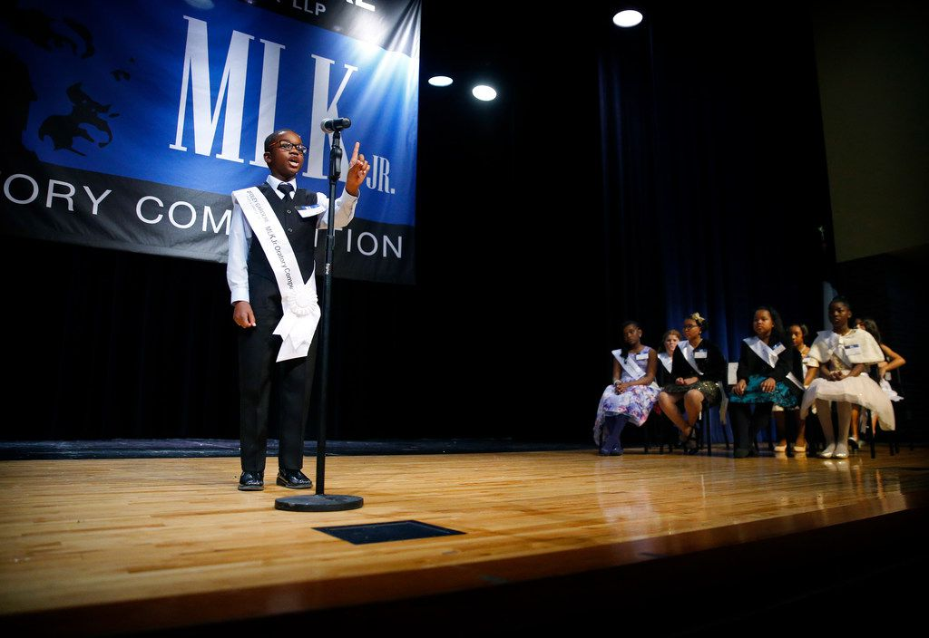 Tory Robertson Jr., a fifth grader at Clara Oliver Elementary School, delivers his second place speech before an audience at W.H. Adamson High School in Dallas, Thursday, January 17, 2019. In celebration of Martin Luther King Jr.'s legacy, fourth and fifth-grade students at Dallas ISD elementary schools compete in the final round of the 27th Annual Foley Gardere MLK Jr. Oratory Competition.