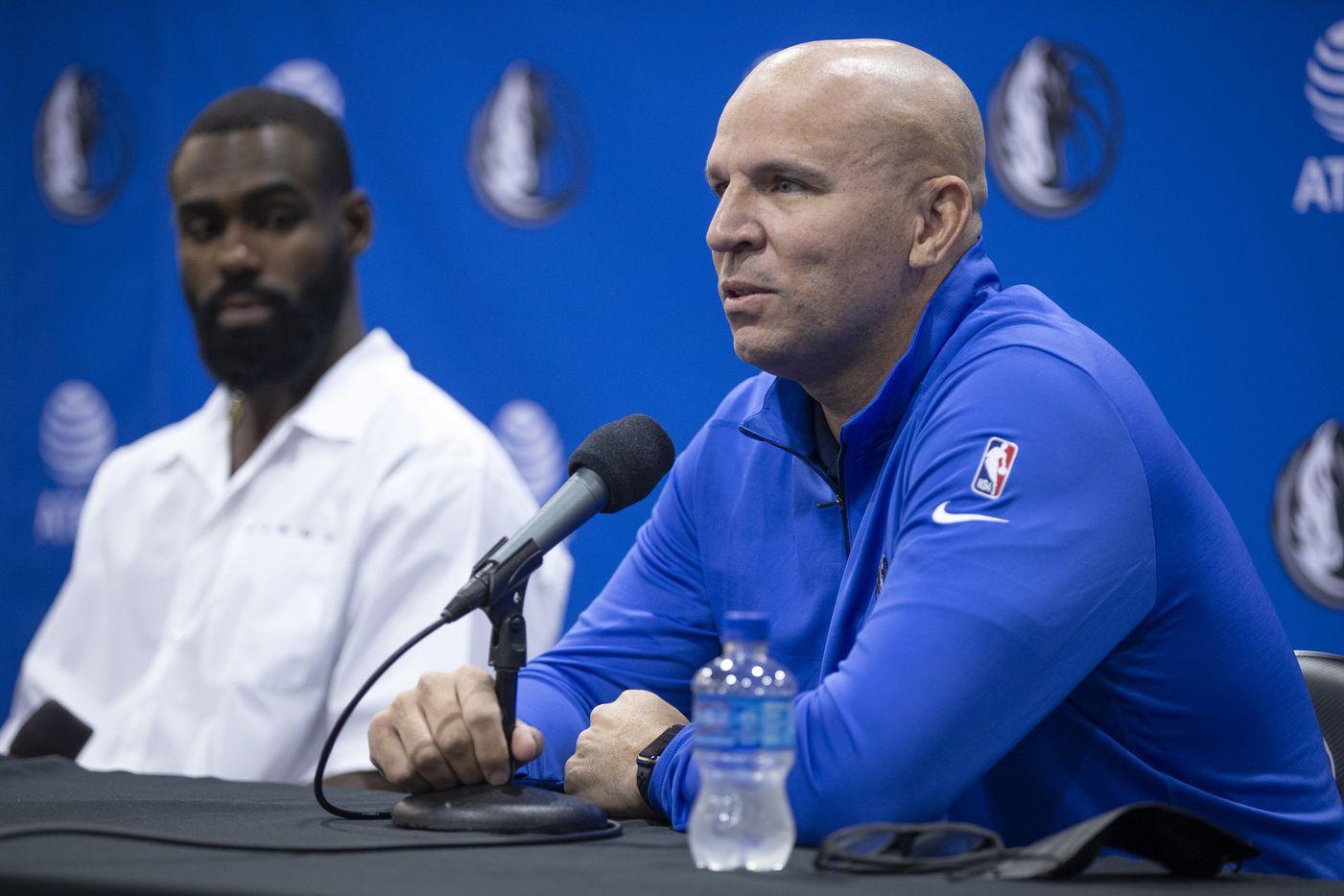 Dallas Mavericks head coach Jason Kidd speaks during a press conference in Dallas, Friday, August 27, 2021. (Brandon Wade/Special Contributor)
