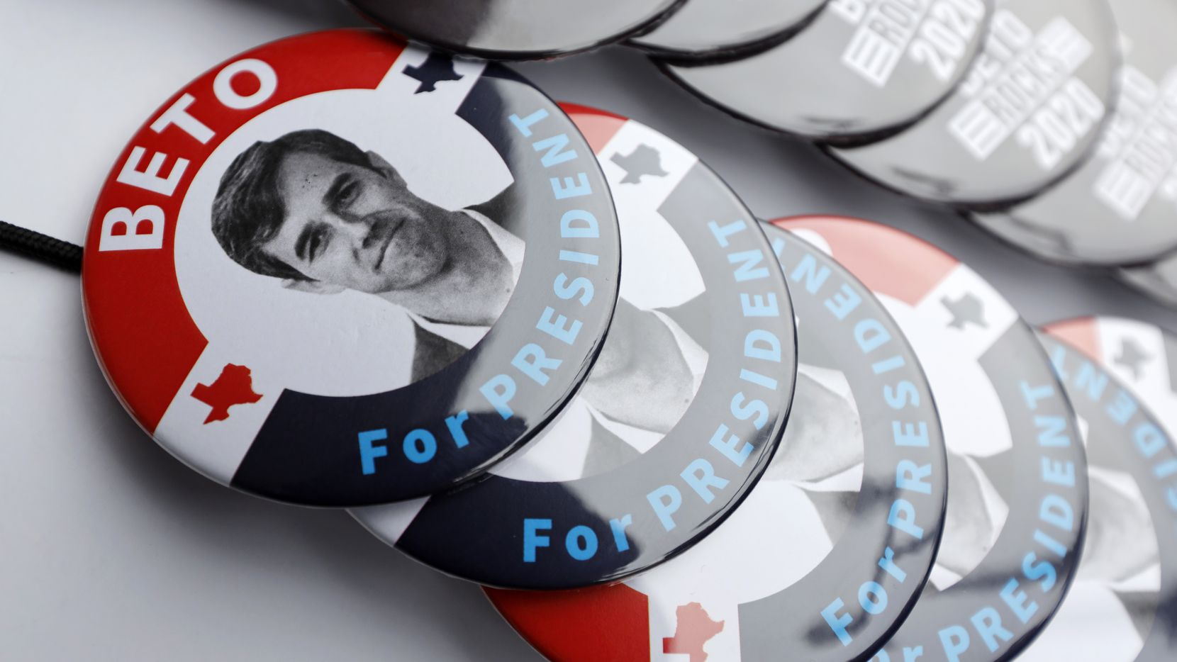 Buttons for Democratic presidential candidate Beto O'Rourke were on display during a March stop at the Central Park Coffee Company in Mount Pleasant, Iowa. With the buzz around him cooling, O'Rourke has started doing more national television appearances, including CNN on Tuesday night.