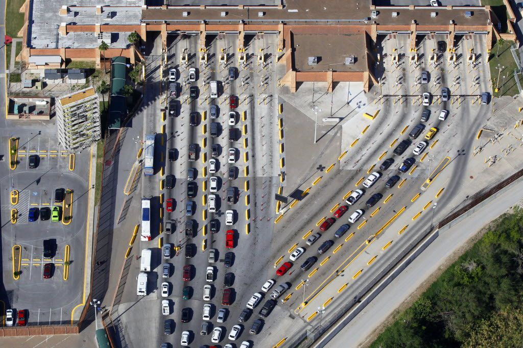 Traffic entering the U.S. from Reynosa, Mexico backs up on the U.S. side at the Hidalgo Port of Entry on the Mcallen-Hidalgo-Reynosa International Bridge Thursday March 24, 2016 in Hidalgo, Texas.