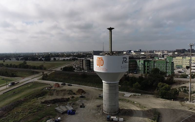 Construction crews recently lifted a massive steel water tower bowl to the top of a 100-foot concrete pedestal in north Richardson. The tower is expected to be completed by May.