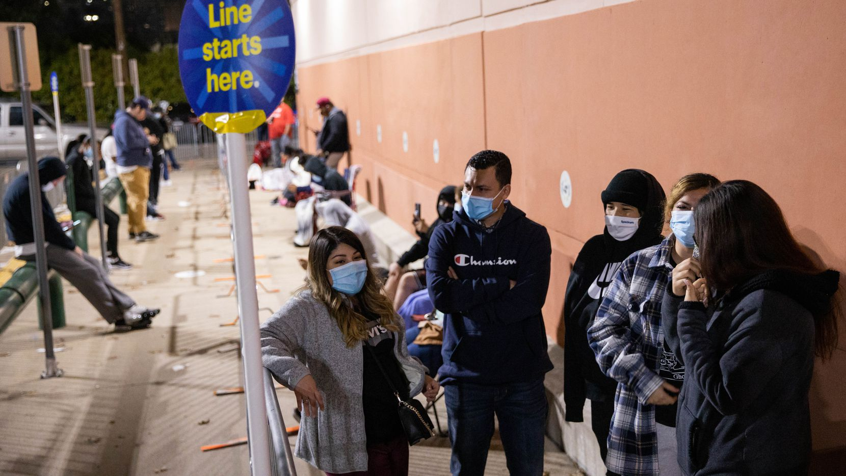 From left: Lourdes Alvarez, Eddie Zubiri, DJ Rios, Leizet Zubiri and Karissa Flores wait at the front of the line at Best Buy on North Central Expressway during Black Friday in Dallas. They got in line at 2:30 a.m. for the store to open at 5 a.m. but walked out empty-handed after finding out the Insignia television they came for was out of stock.