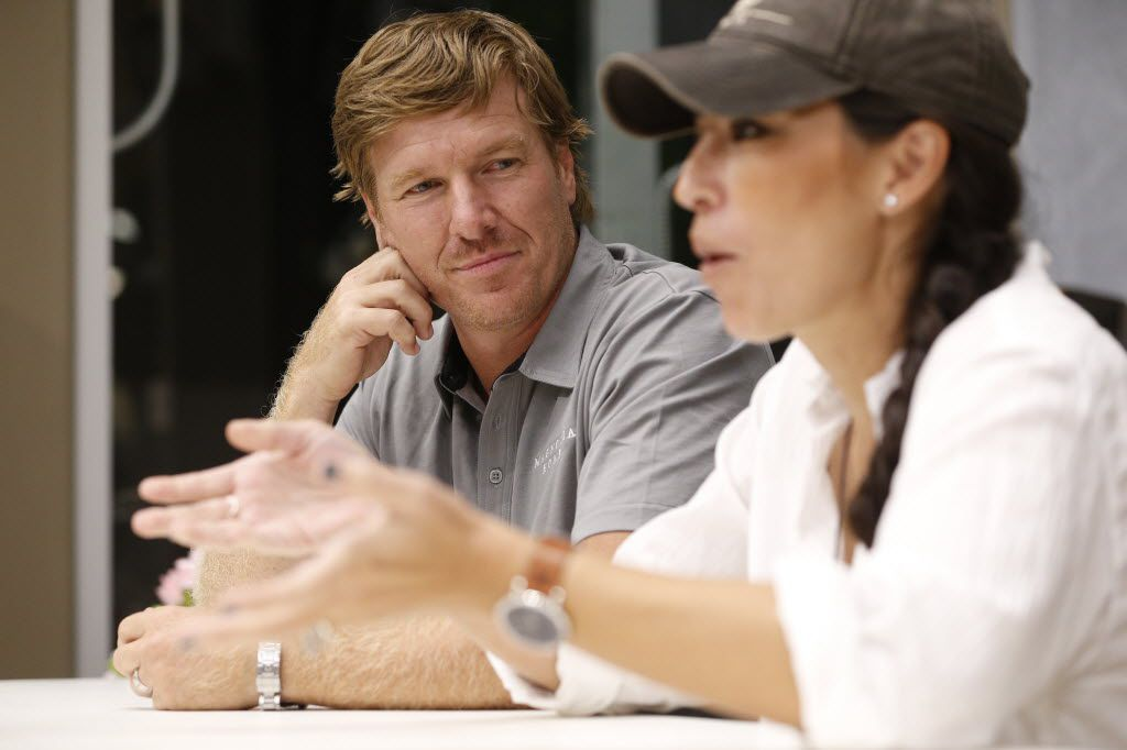 HGTV stars Chip and Joanna Gaines talk to the media during an appearance at Nebraska Furniture Mart Texas in The Colony, Texas Aug. 30, 2016.  (Nathan Hunsinger/The Dallas Morning News)