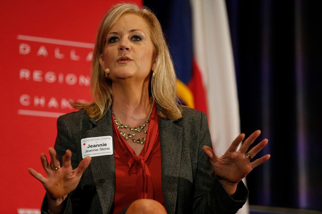 Dr. Jeannie Stone, Richardson ISD Superintendent speaks during the state of education for the Dallas Regional Chamber at Hilton Anatole in Dallas on Sept. 27, 2017.   (Nathan Hunsinger/The Dallas Morning News)