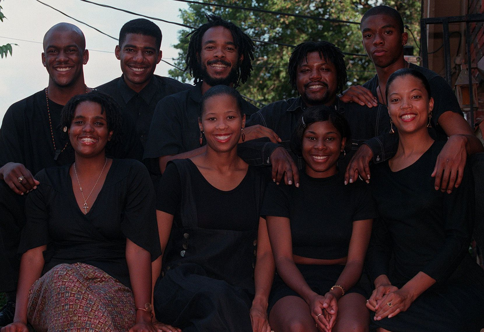 "Chadwick Boseman (back right) wrote the play ""Sonrising,"" which was performed at a Dallas festival in 1996, while Boseman was a student at Howard University."