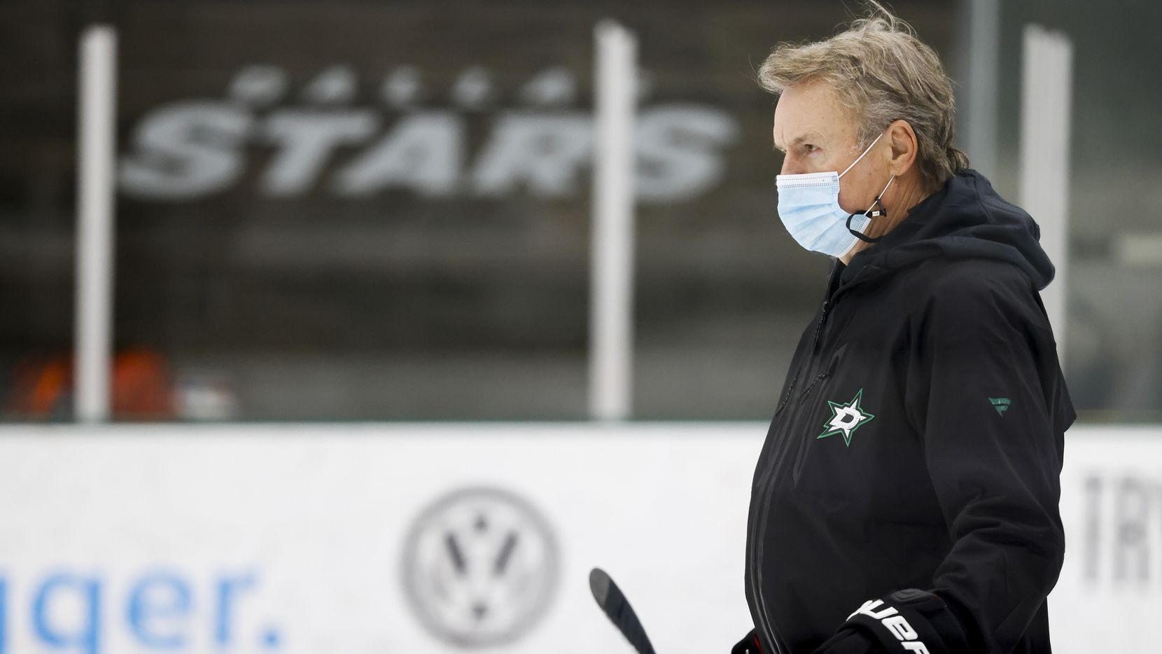 Dallas Stars head coach Rick Bowness watches his team workout during a training camp practice at the Comerica Center on Wednesday, Jan. 6, 2021, in Frisco. (Smiley N. Pool/The Dallas Morning News)