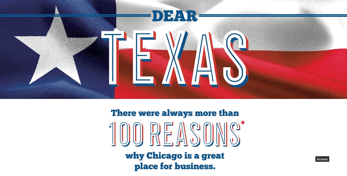 This is a partial screenshot of the ad World Business Chicago placed in Sunday's Dallas Morning News.