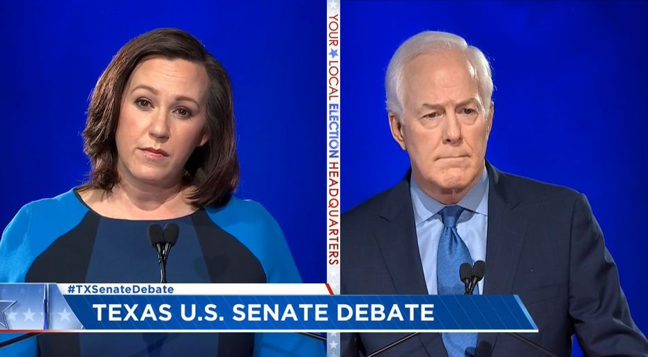 In this frame grab from video, Sen. John Cornyn debates Democrat MJ Hegar on Oct. 9, 2020, in Austin.