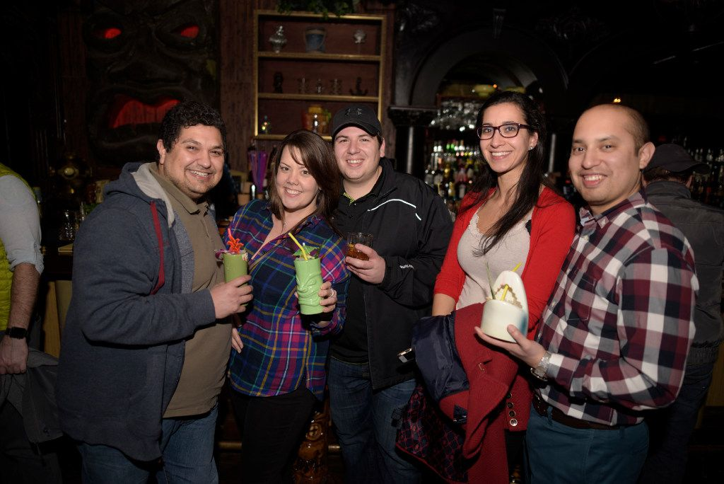 From left:  Joel Perez, Jennifer Crenshaw, Mike Urbano, Henan Rider, and Tony Chavez enjoy a night at Pilikia, a tiki bar on Ross Ave., open in the former Three Sheets location.