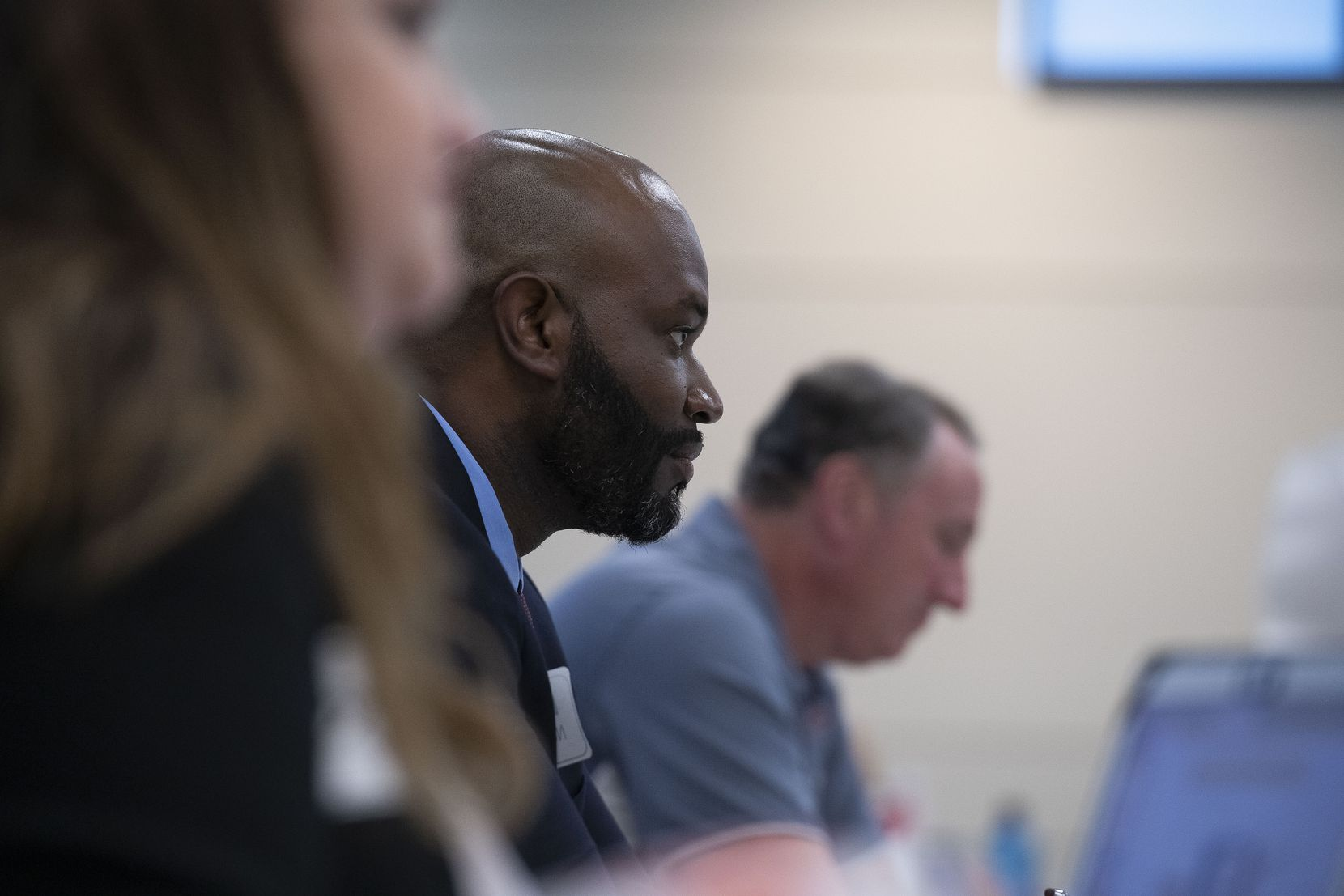 Daniel Norwood, Mesquite ISD social studies coordinator and Leadership Empowerment Team facilitator listens to discussion during one of the new group's meetings. The team, formed in 2020, hopes to work against cultural-, gender- and race-related obstacles to learning.
