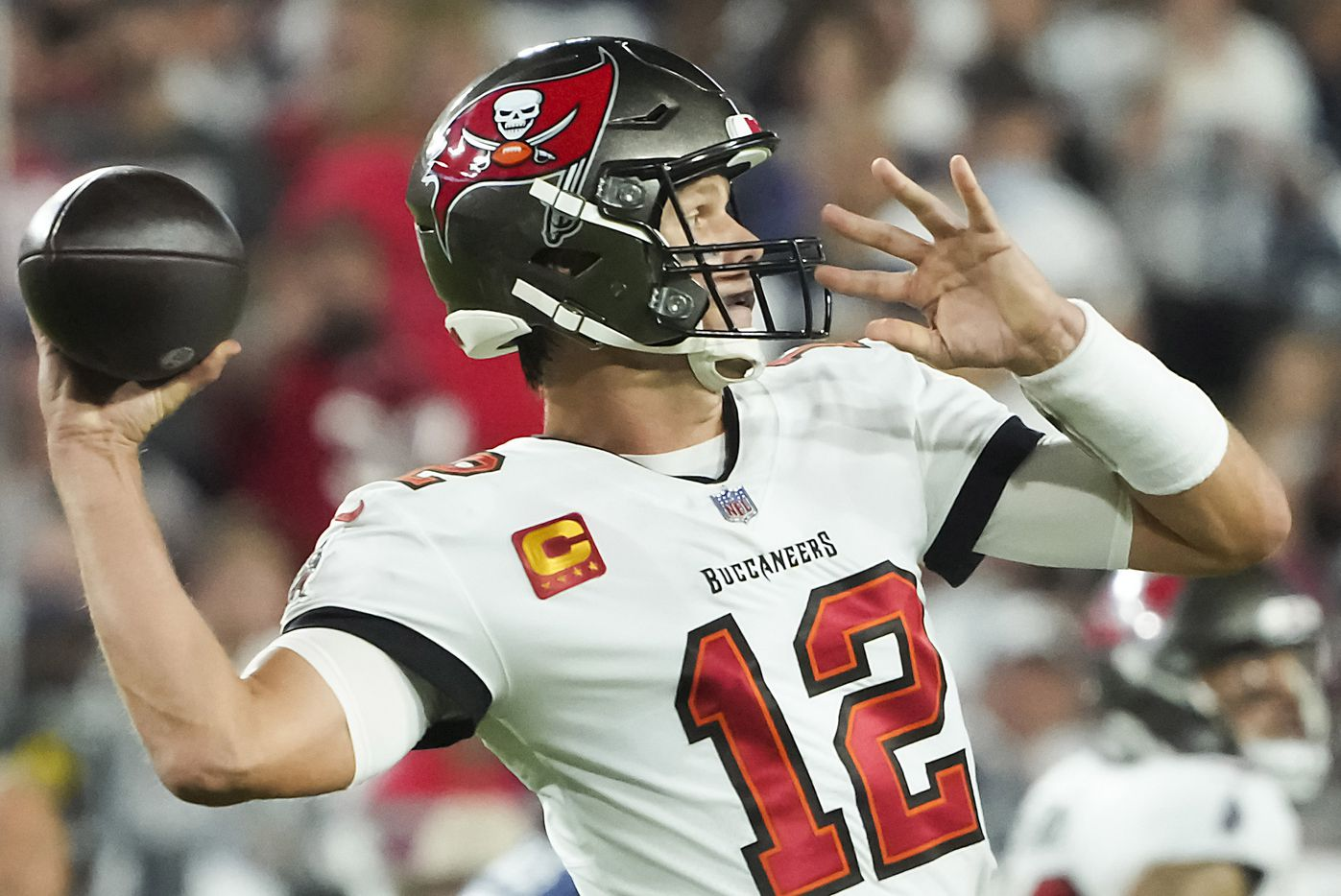 Tampa Bay Buccaneers quarterback Tom Brady (12) throws a pass during the first half of an NFL football game against the Dallas Cowboys at Raymond James Stadium on Thursday, Sept. 9, 2021, in Tampa, Fla. (Smiley N. Pool/The Dallas Morning News)