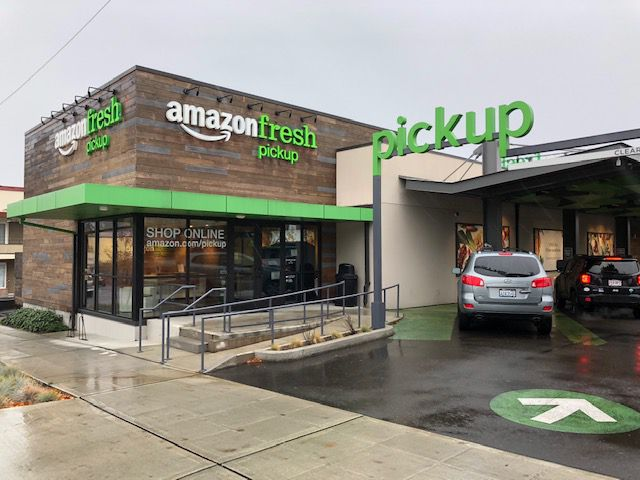 AmazonFresh usually delivers groceries, but in this experiment, drivers can come here and pick up their online orders.