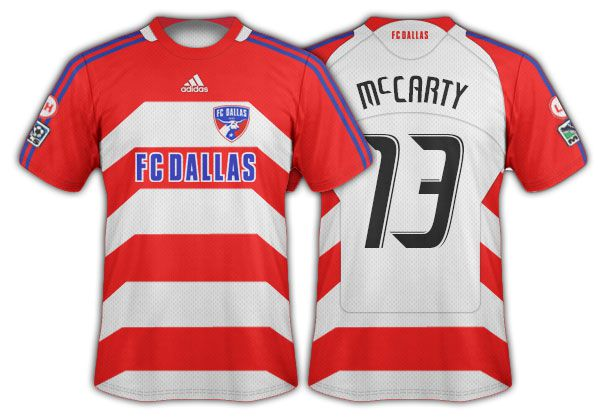 2008-09 FC Dallas red and white hoops with angled side panels primary.