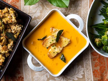 Many restaurants are cooking Thanksgiving feasts so you don't have to. Crú Food & Wine Bar's three-course lunch or dinner includes butternut squash bisque.