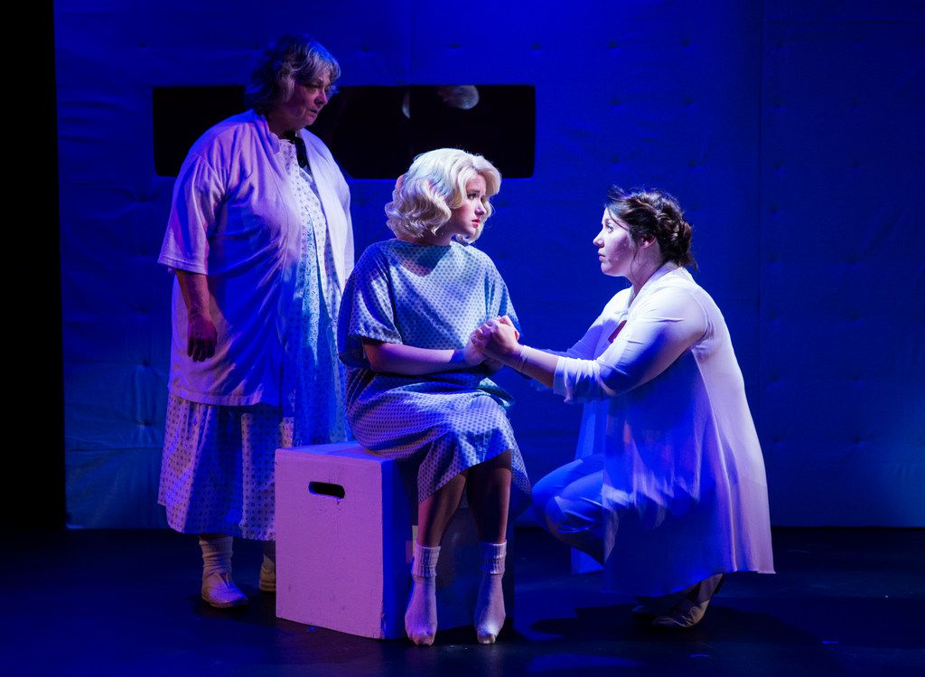 Sally Soldo (from left) plays the grandmother of Marilyn Monroe (CC Weatherly), and Stefany Cambra stars as her mother, Gladys, in the Lily & Joan company's Marilyn, Pursued by a Bear. All three characters are locked in a mental institution in Nicole Neely's play.