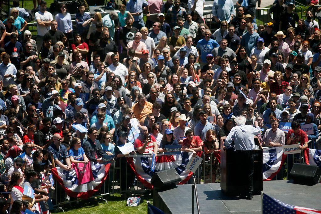 Democratic presidential candidate Sen. Bernie Sanders, I-Vt., speaks during a rally at Burnett Park in Fort Worth on Thursday, April 25, 2019.