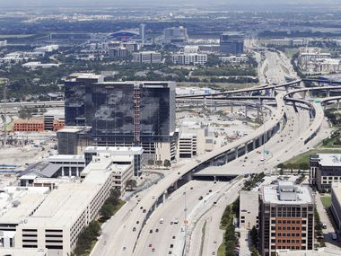 Dallas North Tollway splits Legacy West (left) and Shops of Legacy (right) in Plano on Thursday, August 31, 2017. A number of Texas companies listed in Deloitte's 500 Fastest growing tech companies are headquartered in Plano. (Vernon Bryant/The Dallas Morning News)