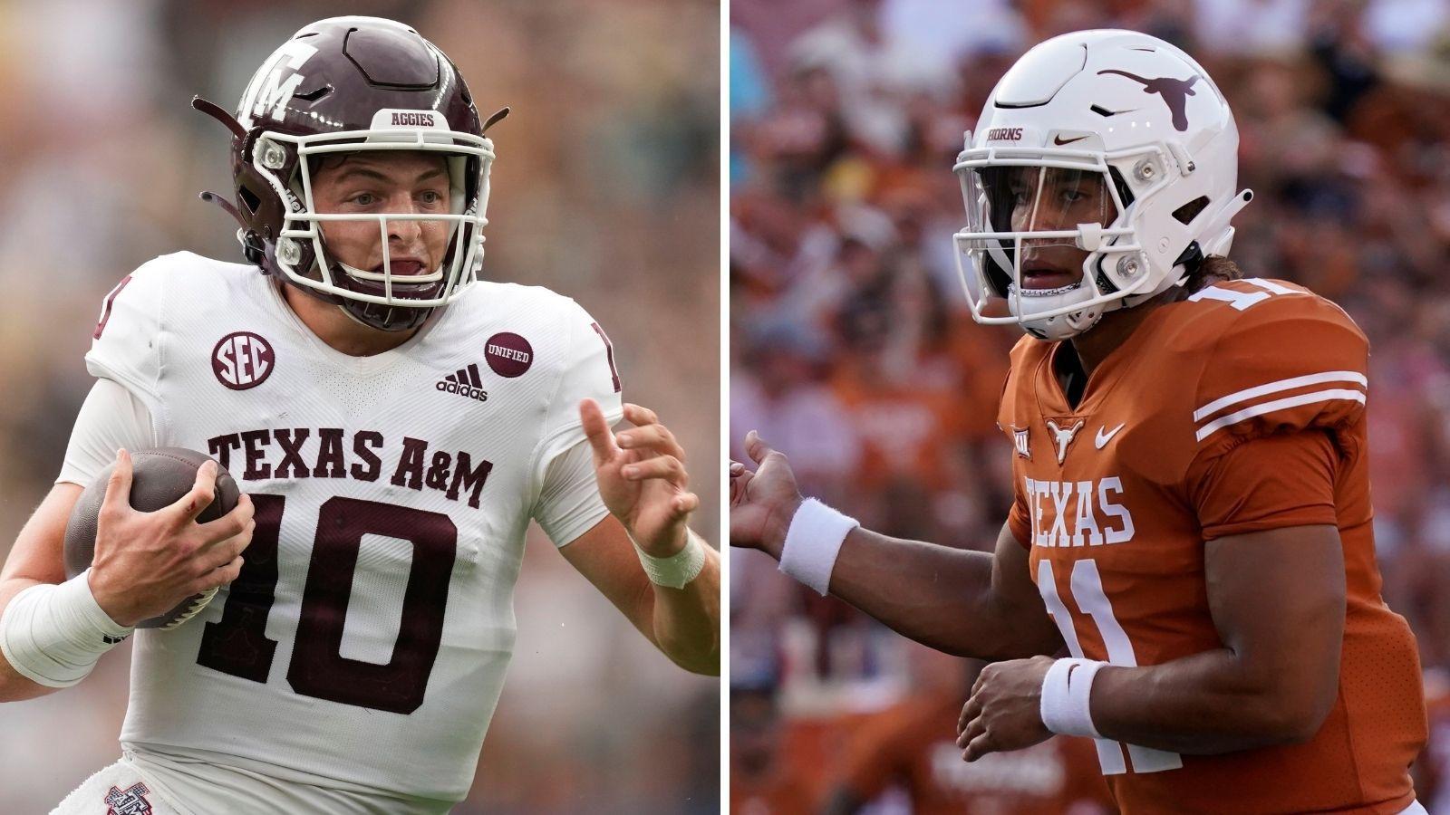 Texas A&M QB Zach Calzada (left) and Texas QB Casey Thompson (right). (Photos from The Associated Press)