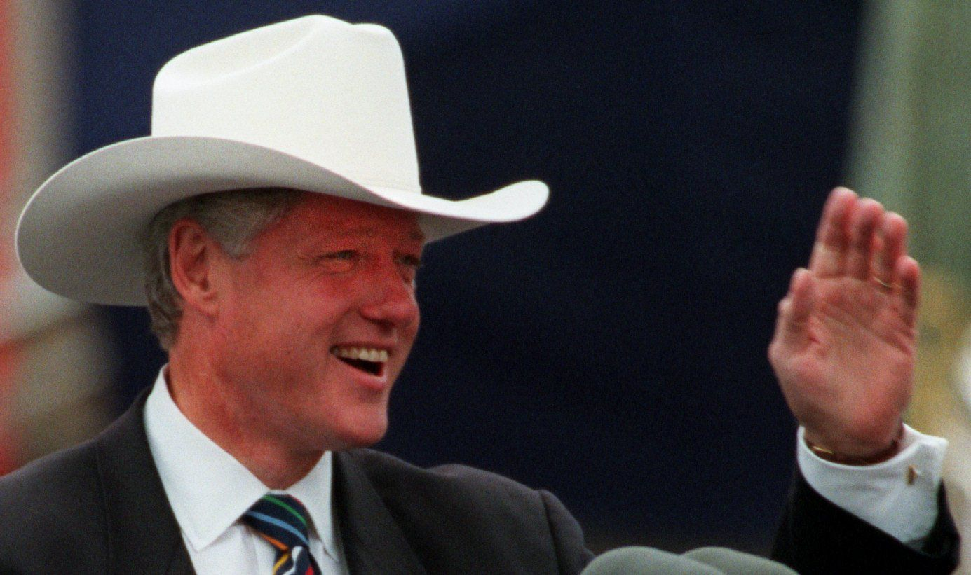 President Bill  Clinton waved to the crowd at a political rally in Sundance Square in Fort Worth in 1996. The hat was given to him by the  publisher of the Fort Worth Star-Telegram.