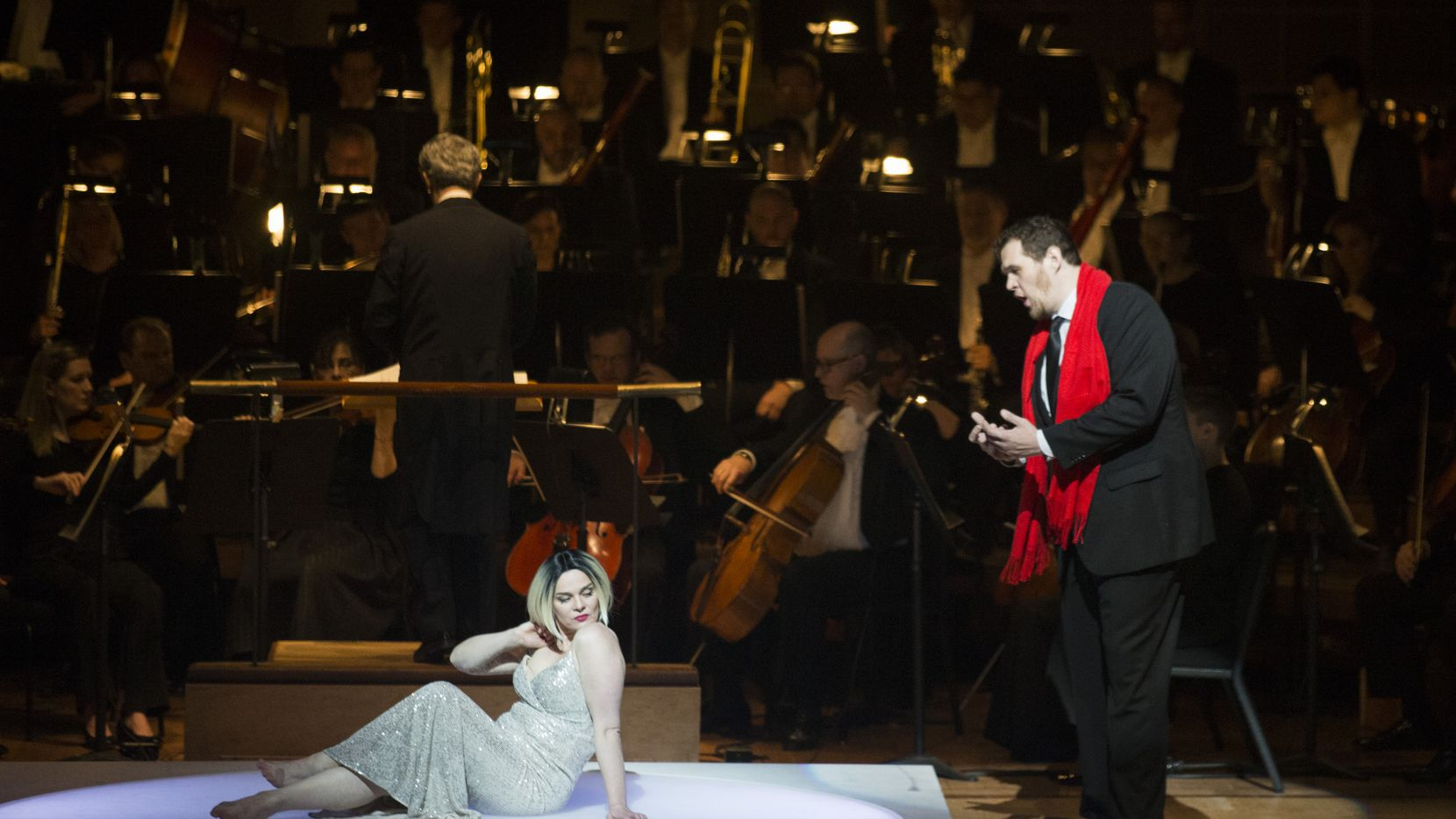 "Richard Trey Smagur, as Narraboth (right), pleads with Ausrine Stundyte, as Salome, in the Dallas Symphony Orchestra's performance of Strauss' ""Salome,"" conducted by Fabio Luisi on Friday, January 31, 2020 at the Meyerson Symphony Center in Dallas."