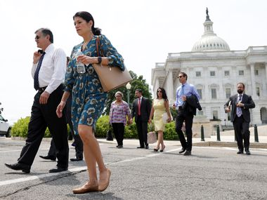 Democratic state legislators from Texas leave the U.S. Capitol after meeting with Sen. Joe Manchin, D-WV, on July 15, 2021. The Texans have been lobbying U.S. senators on voting rights after more than 50 state House members they fled the state to block a Republicans from passing a voting restrictions bill.