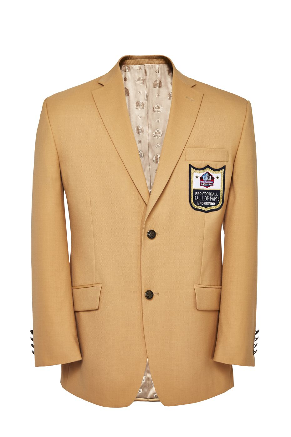 The Pro Football Hall of Fame gold jackets are made by the Haggar Clothing Co., which was founded in Dallas in 1926.