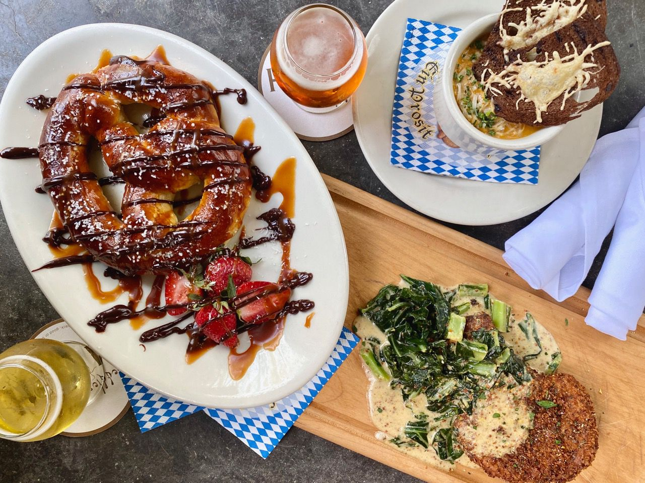 Meddlesome Moth in Dallas is offering an Oktoberfest menu featuring Oktoberfest beer flights, cheddar Bock soup with pumpernickel crostini, pork schnitzel with stone mustard creamed collard greens and parmesan potatoes, and chocolate covered pretzels with caramel and toasted coconut.
