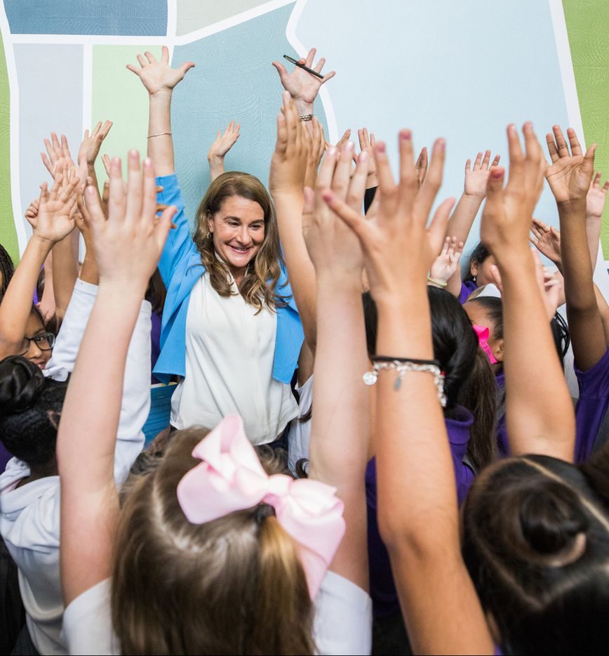 """Melinda Gates visits 3rd grade students during the tour for her new book """"The Moment of Lift"""" at Solar Preparatory School for Girls in Dallas, TX on May 3, 2019."""