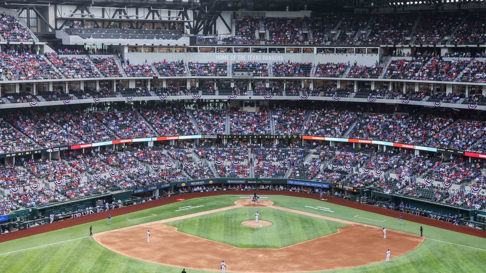 Texas Rangers vs. Toronto Blue Jays at the Globe Life Field on opening day in Arlington, Texas on Monday, March 5, 2021.