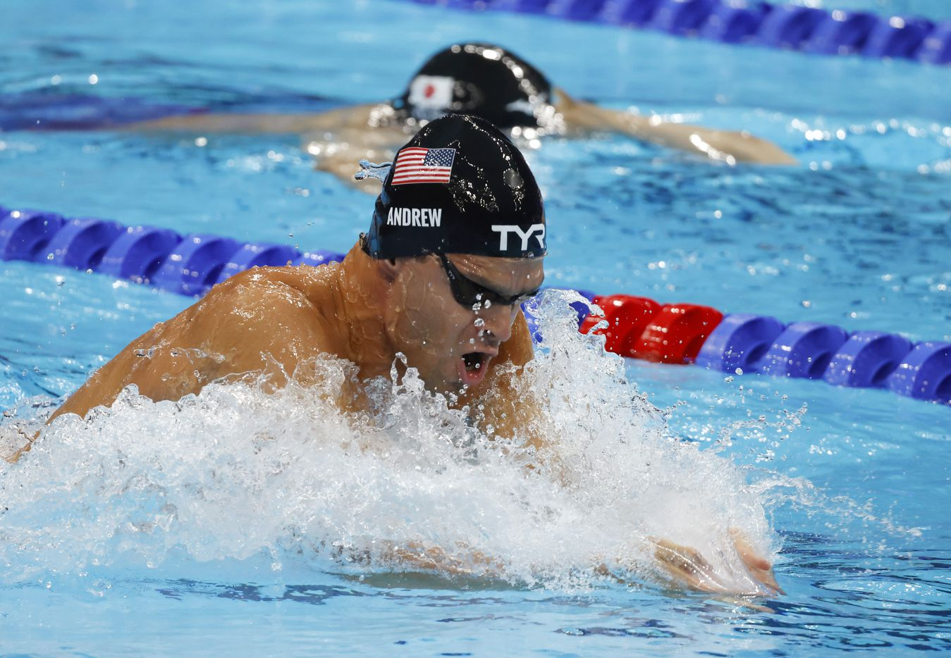 USA's Michael Andrew competes in the men's 4x100 meter medley relay final during the postponed 2020 Tokyo Olympics at Tokyo Aquatics Centre, on Sunday, August 1, 2021, in Tokyo, Japan. USA earned a gold medal, setting a new world record with a time of 3:26.78. (Vernon Bryant/The Dallas Morning News)