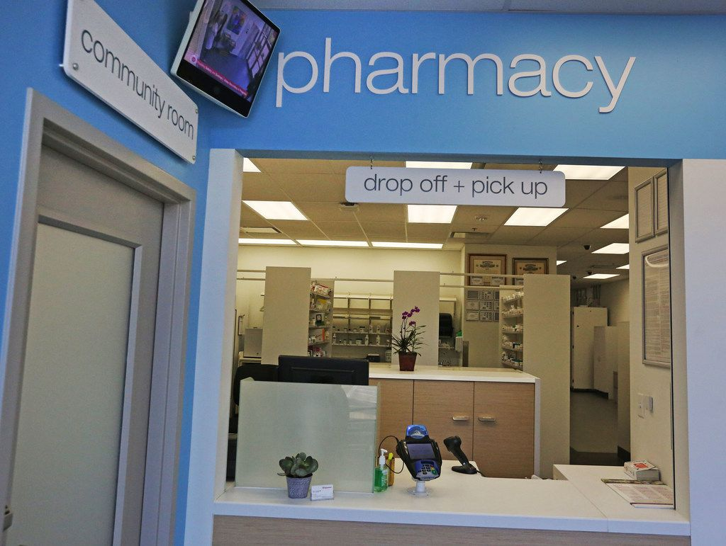 The Walgreens Community Pharmacy at 7859 Walnut Hill Lane in Dallas, is just that, a pharmacy. The usual merchandise shoppers usually pass on the way to the back is not there.