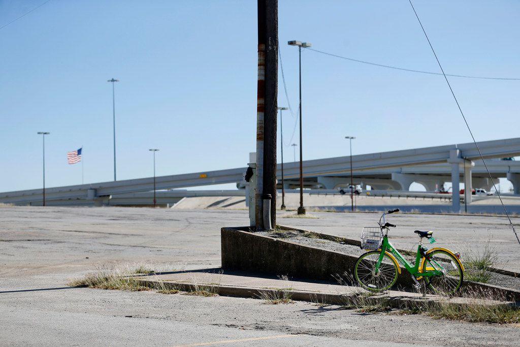 A LimeBike rental bike is parked in a lot in downtown Dallas on Oct. 24, 2017.