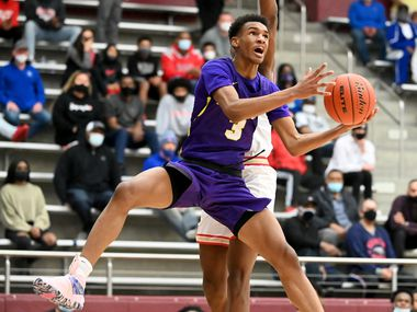 Richardson's Rylan Griffen goes to the basket in front of South Grand Prairie's Jaden Flournoy half of a boys Class 6A high school playoff basketball game between Richardson and South Grand Prairie, Friday, Feb. 26, 2021, in Lewisville, Texas. (Matt Strasen/Special Contributor)