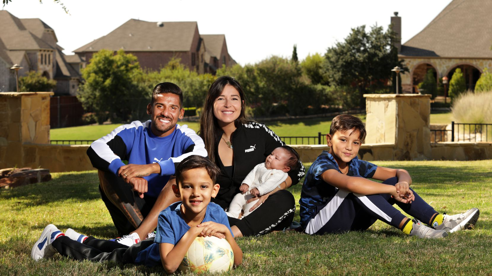 Franco Jara, left, 6-year-old Constantino Jara, Ruth Jara, 1-month-old Gianluca Jara, and 9-year-old Francesco Jara pose for a photograph at their home in Prosper, TX, on Oct. 5, 2020. (Jason Janik/Special Contributor)