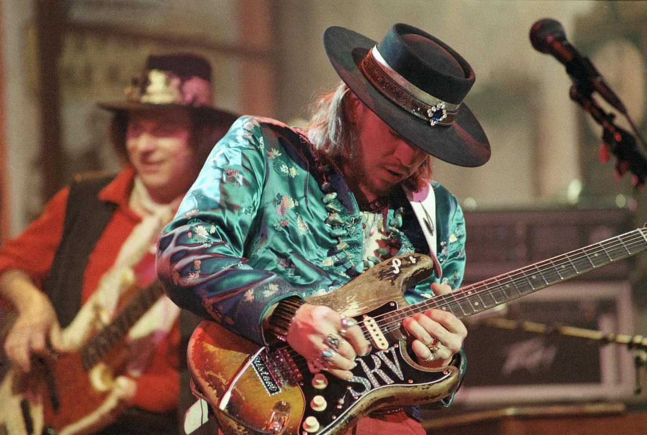 In this 1986 file photo, guitarist Stevie Ray Vaughan rehearses with his band Double Trouble for a performance on Saturday Night Live in New York. Stevie Ray Vaughan, a six-time Grammy winner, was killed in a 1990 helicopter crash at the age of 35.
