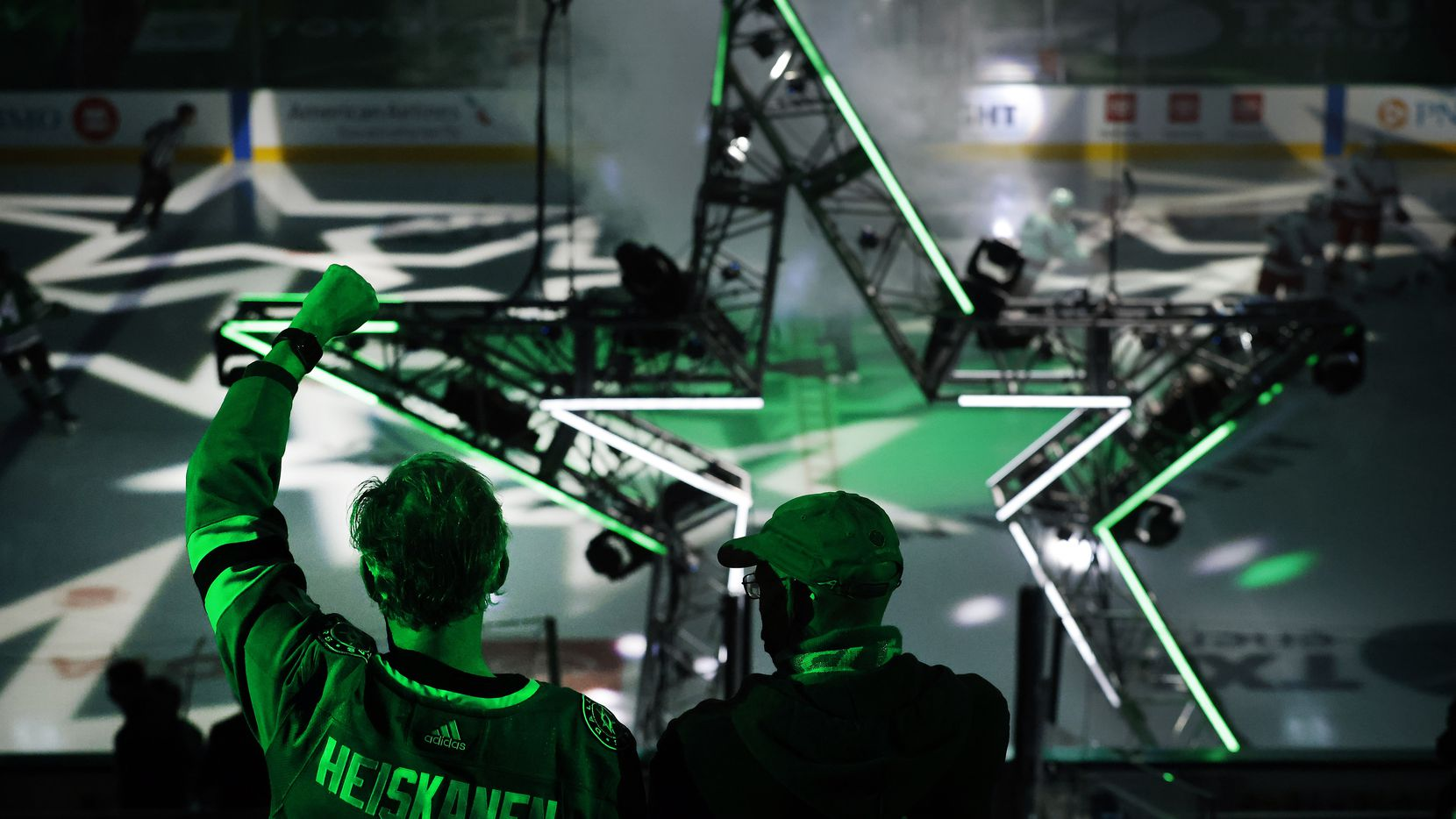 Dallas Stars fans cheer their players as they're introduced during the last home game of the regular season at the American Airlines Center in Dallas, Tuesday, April 27, 2021. The Stars were facing the Carolina Hurricanes.