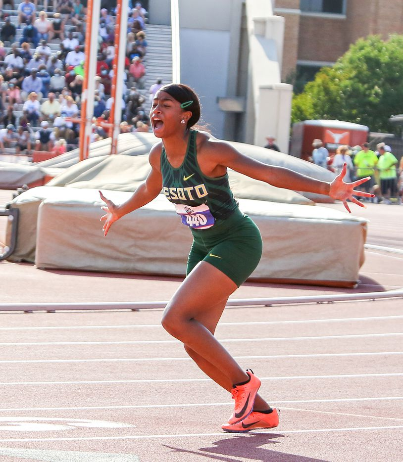 DeSoto's Jalaysi'ya Smith reacts to placing first in the 6A Girls 100 meter hurdles during the UIL state track meet at the Mike A. Myers Stadium, at the University of Texas on May 8, 2021 in Austin, Texas.