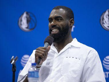 Dallas Mavericks guard Tim Hardaway Jr. speaks during a press conference in Dallas, Friday, August 27, 2021. (Brandon Wade/Special Contributor)