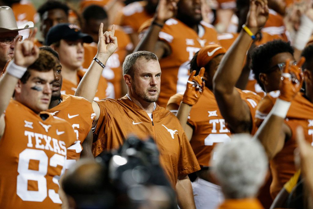 AUSTIN, TX - SEPTEMBER 08:  Head coach Tom Herman of the Texas Longhorns sings The Eyes of Texas after the game against the Tulsa Golden Hurricane at Darrell K Royal-Texas Memorial Stadium on September 8, 2018 in Austin, Texas.  (Photo by Tim Warner/Getty Images)